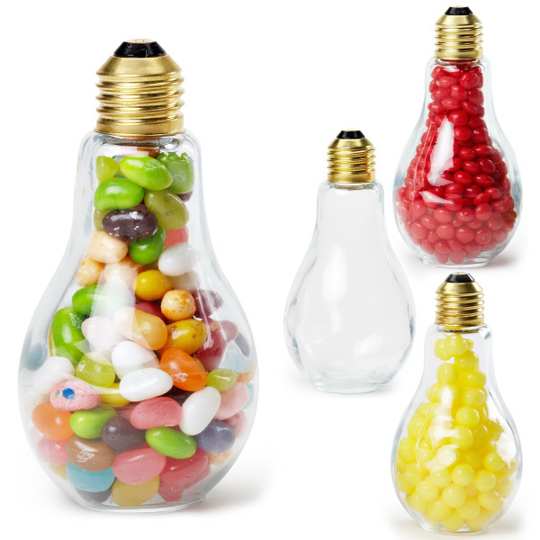 Medium Light Bulb Glass Jar with Jelly Bellys
