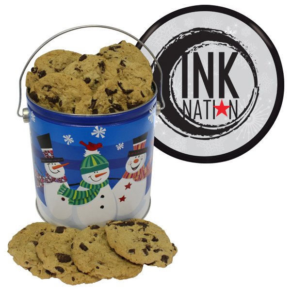 Christmas Tin Cookies.One Gallon Cookie Christmas Tin Large Chocolate Chip Cookies