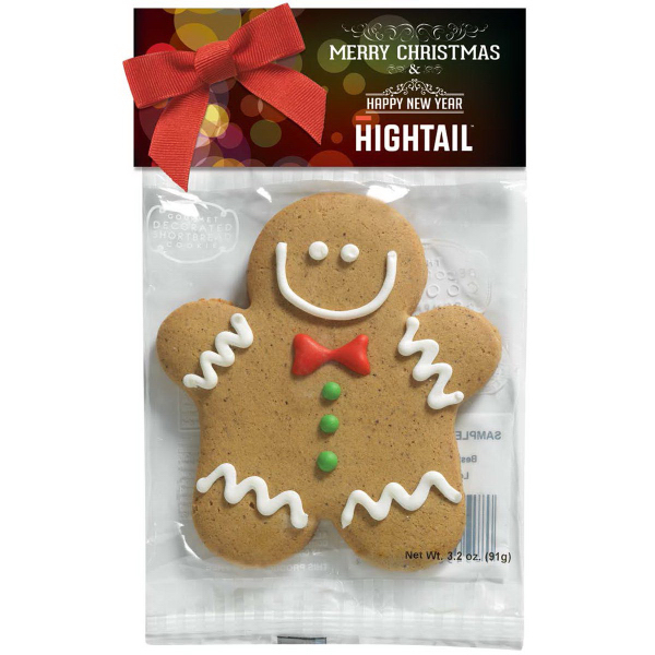 Decorated Shortbread Cookie In Header Bag Gingerbread Man Goimprints