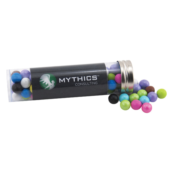 """Sixlets Candy in a 5 """" Plastic Tube with Metal Cap"""