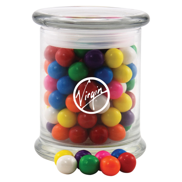 Gumballs in a Large Round Glass Jar with Lid