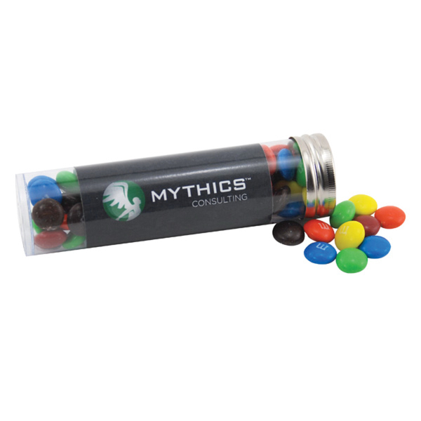 "M&M's in a 5 "" Plastic Tube with Metal Cap"