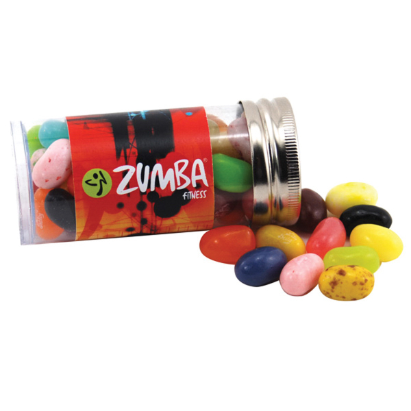 """Jelly Bellys Candy in a 3 """" Plastic Tube with Metal Cap"""