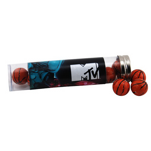 """Chocolate Basketballs in a 6 """" Plastic Tube with Metal Cap"""