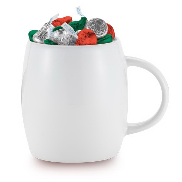 14 oz White Ceramic Rotunda Mug w/C-handle & kisses