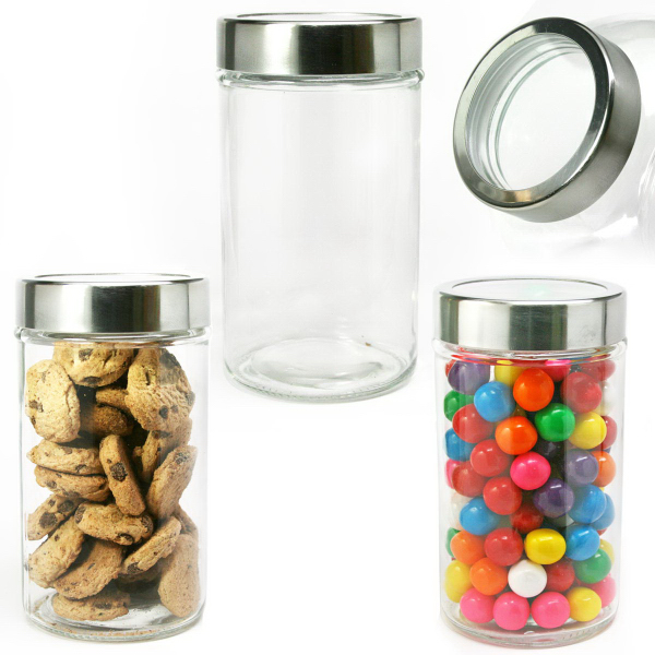 Modern Round Glass Jar With See Thru Lid With Hard Candy