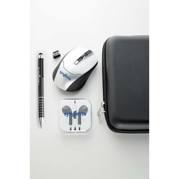 Wireless mouse, earphone and stylus set