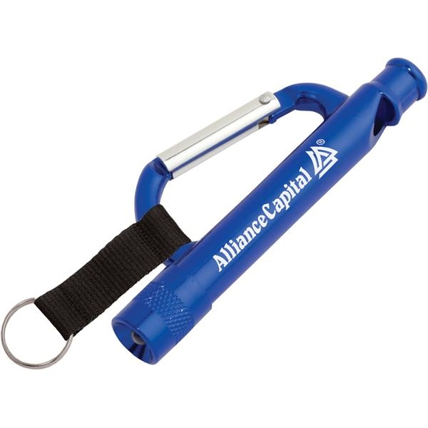 Carabiner Flashlight / Whistle with Strap