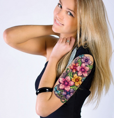 Customizable Temporary Tattoo Sleeve-Floral