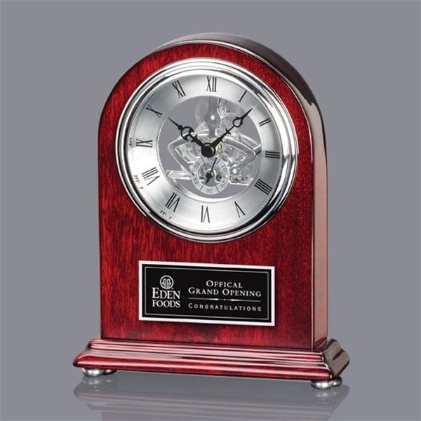 3858235839323 Judson Clock - Rosewood/Silver 7 1/4