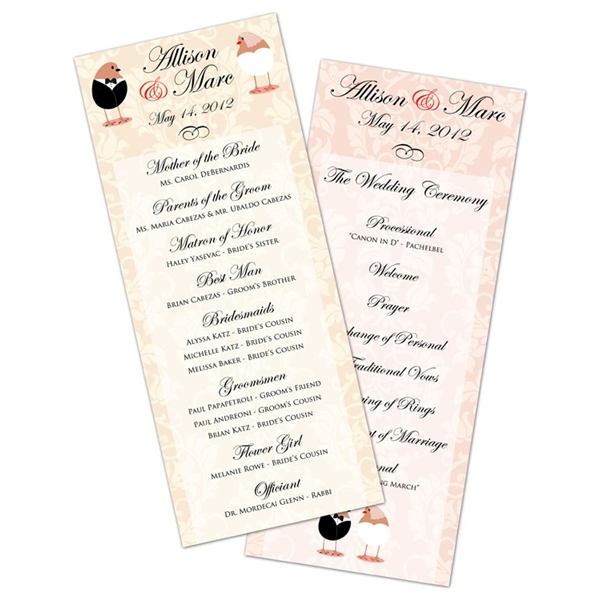 wedding program card flat 3 5x8 5 goimprints