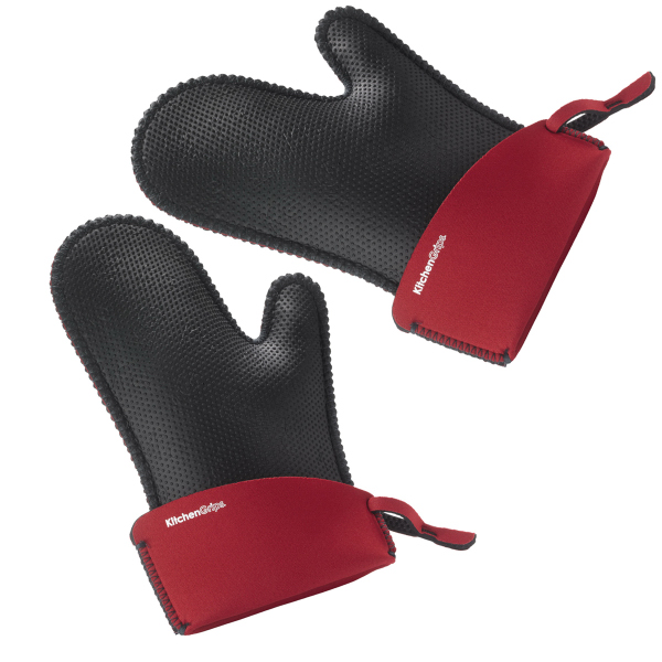 KitchenGrips Large Chefu0027s Mitt, Set Of 2   Red/Blk