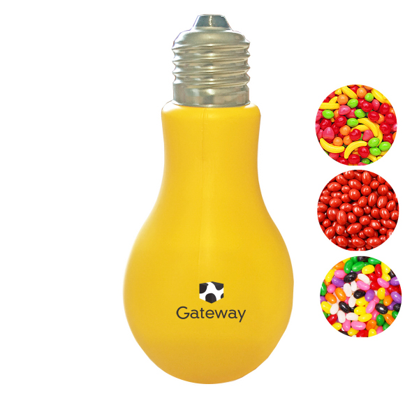 Light Bulb Plastic Yellow Medium Container Jelly Beans