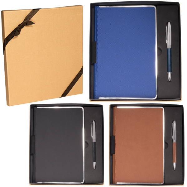 Naples (TM) Metallic-Trim Journal & Pen Gift Set