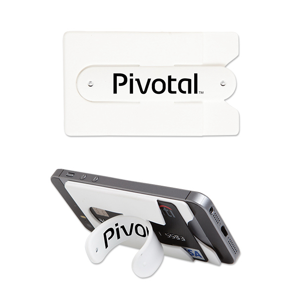 White Silicone Phone Pocket with Snap Stand