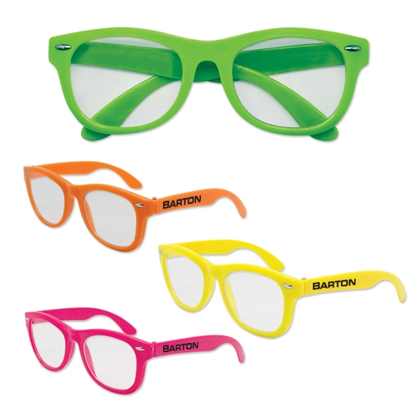 Blues Brothers Style Neon Sunglasses with Clear Lenses