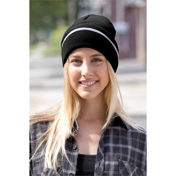 Edge Stripe Knit Beanie