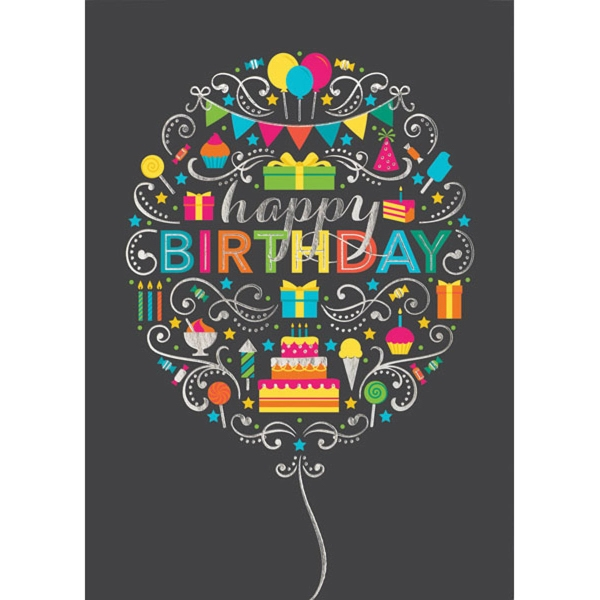 Birthday Balloon Collage Greeting Card