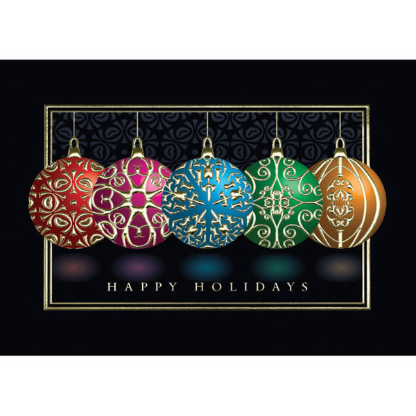 Single red ornament greeting card goimprints holiday embossed ornaments greeting card m4hsunfo