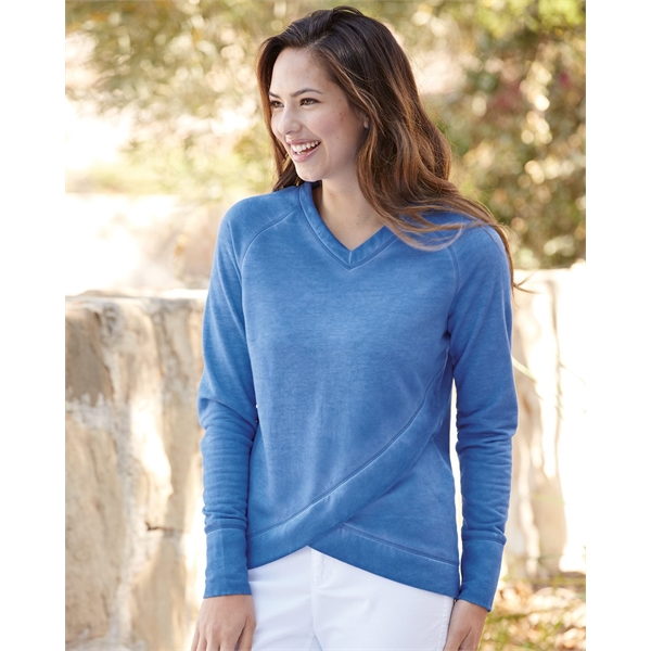 b404dcf26 J. America Women's Oasis Wash Criss Cross V-Neck Sweatshirt - GOimprints