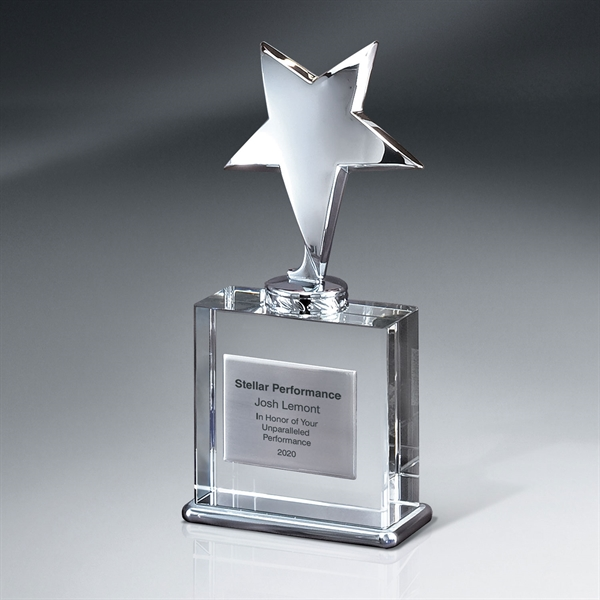 Silver Star Award on Crystal Base with Silver Plate - Large