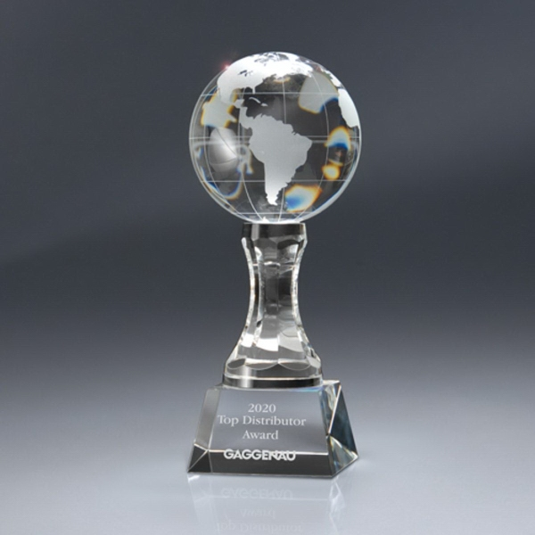 Optic Crystal Globe Award On Pedestal With Base - Small
