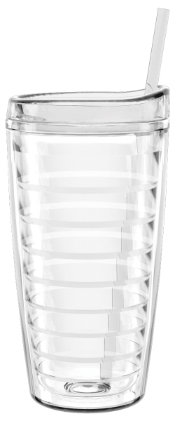 22 oz Shelby Clear Double Wall Tumbler WITH LID and STRAW GOimprints