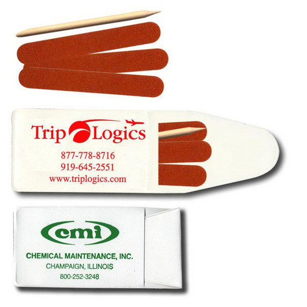 Pocket Nail File Kits - 3 Emery Boards & Stick - GOimprints