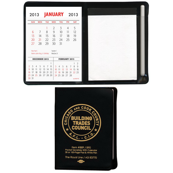 Pocket Secretary with Calendar with 100-Page Pad & White Pen