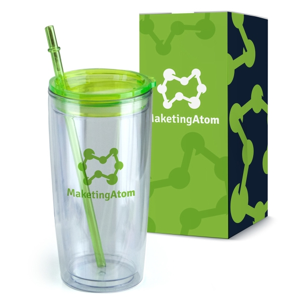 20 oz. Double Wall Plastic Tumbler with Straw in Gift Box