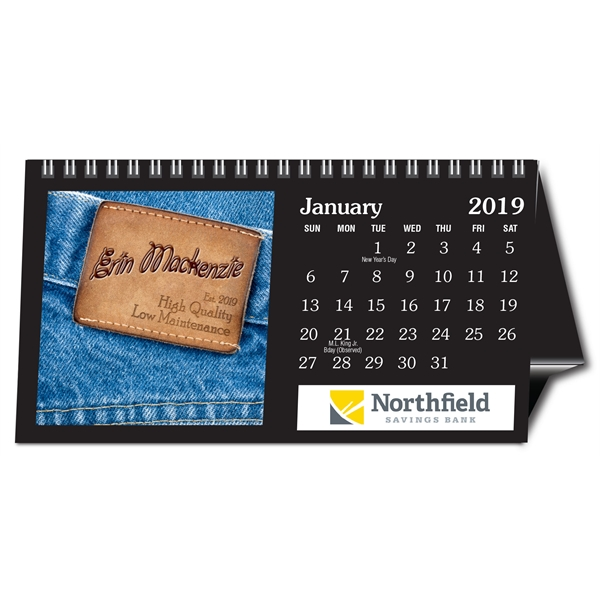 Personalized tent desk calendar (Black Easel)  sc 1 st  GOimprints & Personalized tent desk calendar (Black Easel) - GOimprints