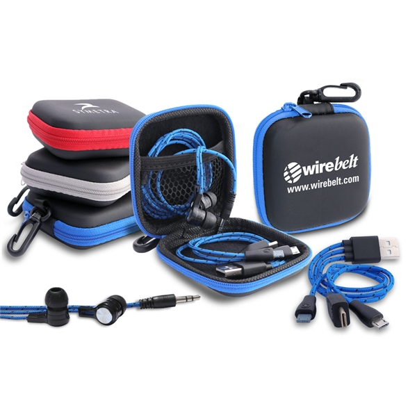 Tech Traveler Earbuds & Multi Charging Cable Set in Zip Case
