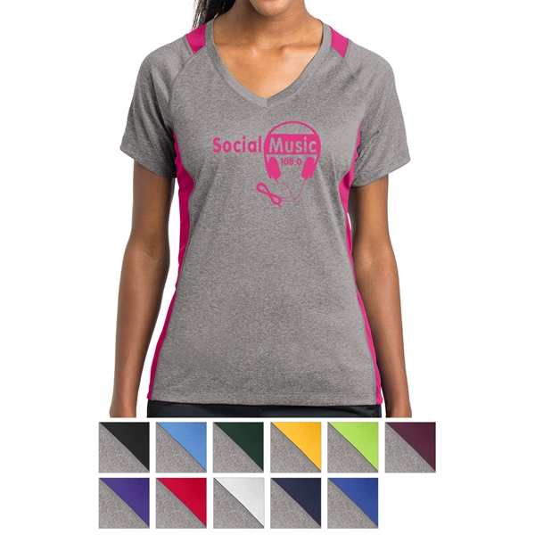 Sport Tek Youth Heather Colorblock Contender T-Shirt-S Vintage Heather//Gold