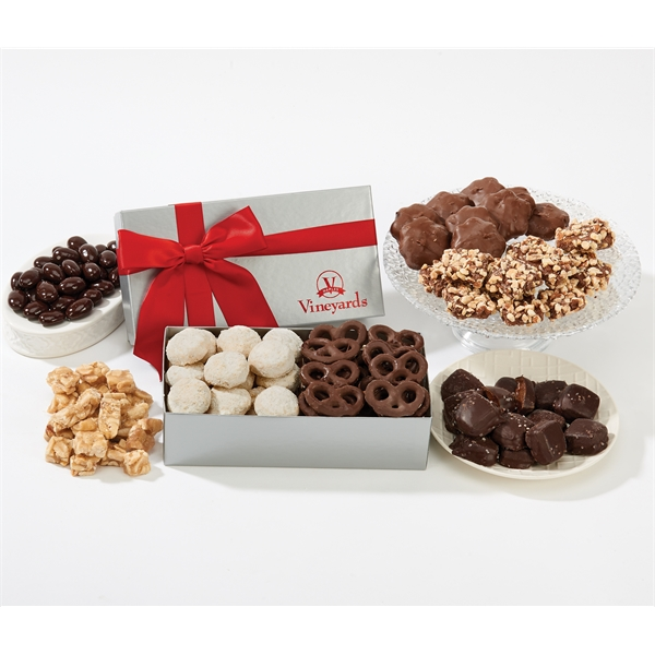 Gift Box with Popcorn, Cookies, Nuts, Chocolate, Meat Cheese