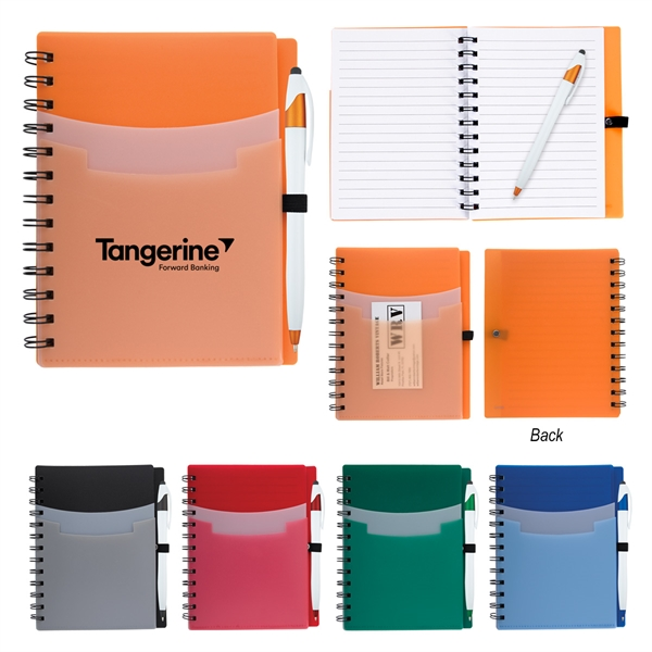 5 x 7 tri pocket notebook pen goimprints
