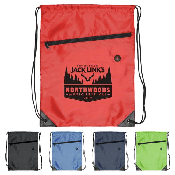 Bag - Drawstring Polyester Sports Bag with Zipper