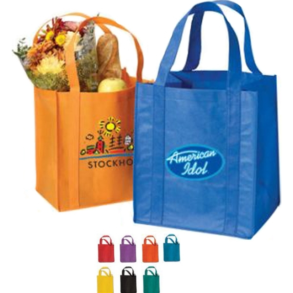 "Grocery Non Woven Tote Bag with 20"" Straps 80GSM 13x14.75x10"