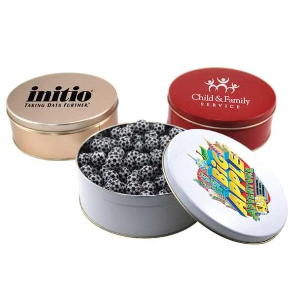 """Chocolate Soccer Balls in a Round Tin with Lid-7.25"""" D"""