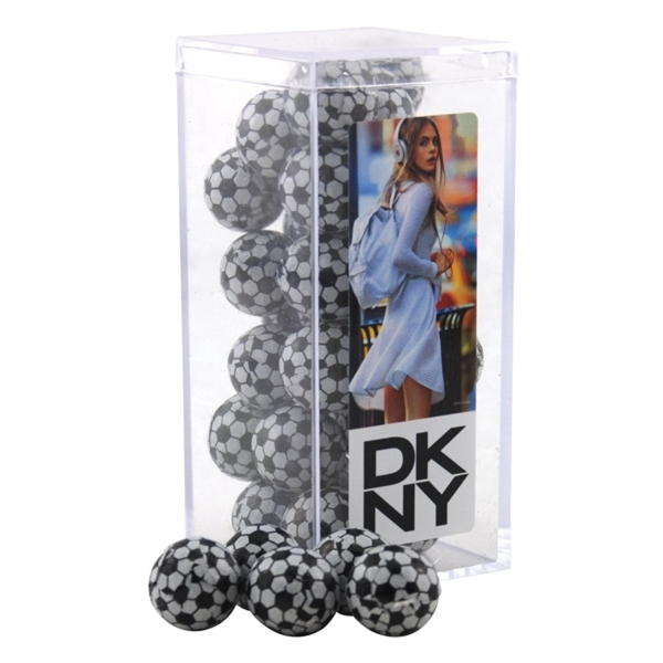 Chocolate Soccer Balls in a Clear Acrylic Square Tall Box