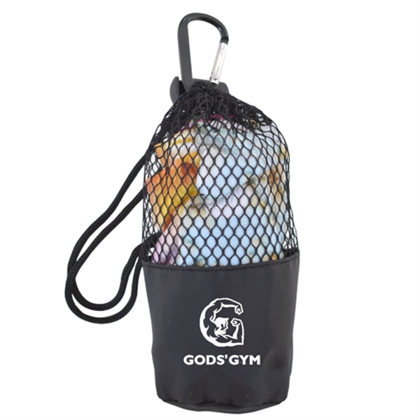 Cooling Towel in Mesh Drawstring Pouch with Carabiner