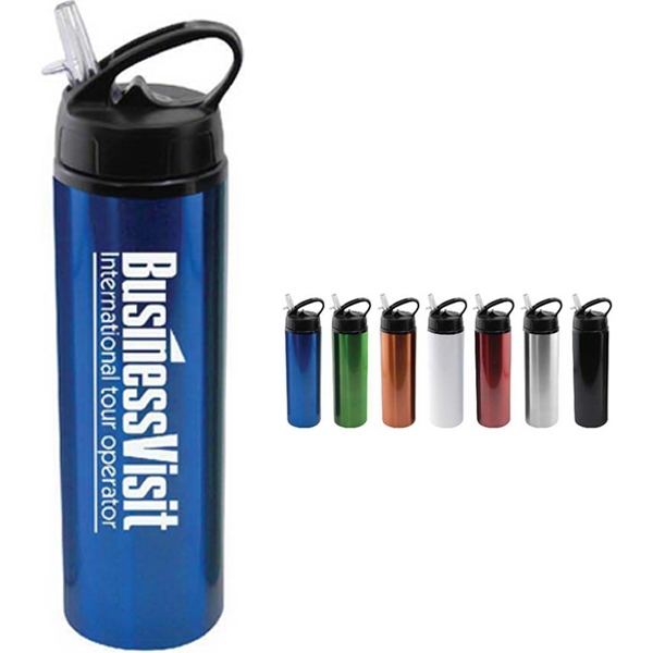 24 oz Aluminum Water Bottle with Sports Sipper Flip Straw