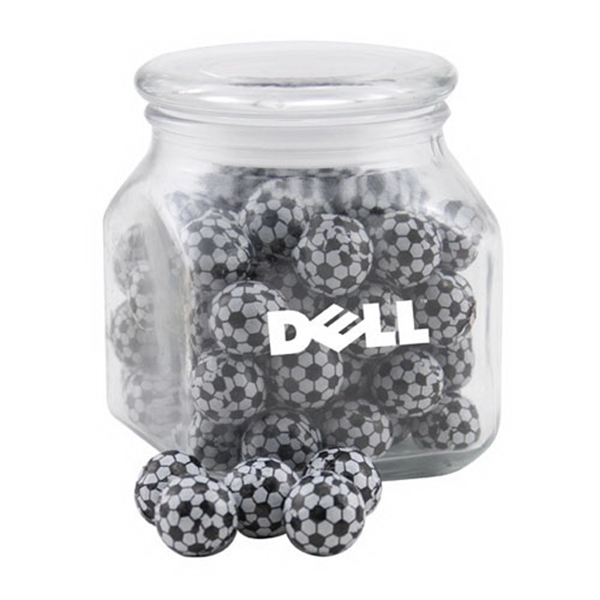 Chocolate Soccer Balls in a Large Glass Jar with Lid