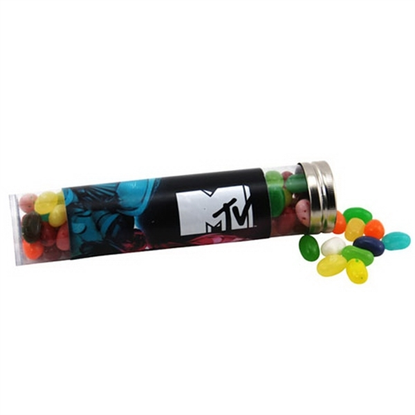 "Jelly Bellys Candy in a 6 "" Plastic Tube with Metal Cap"