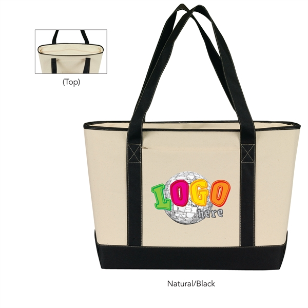 Large Cotton Canvas Zippered Boat Tote
