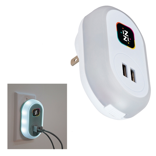 UL Listed Dual USB AC Wall Charger with Light