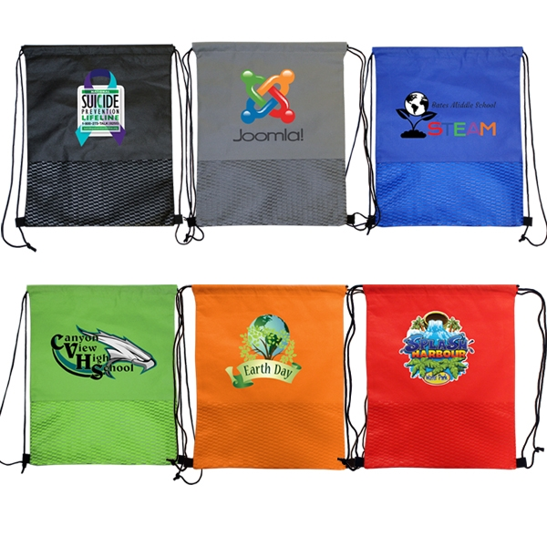 Wave NW Drawstring Backpack, Full Color Digital