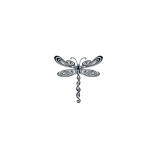 Black Tribal Dragonfly Temporary Tattoo