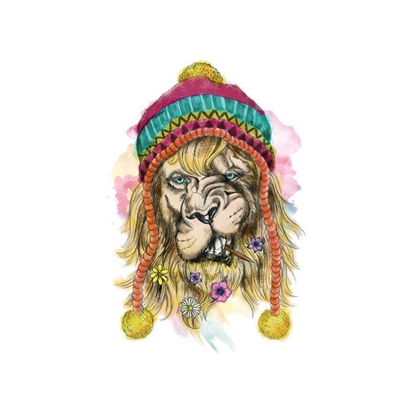 Hipster Watercolor Lion Temporary Tattoo - GOimprints