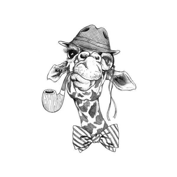 Hipster Giraffe With a Pipe Temporary Tattoo - GOimprints
