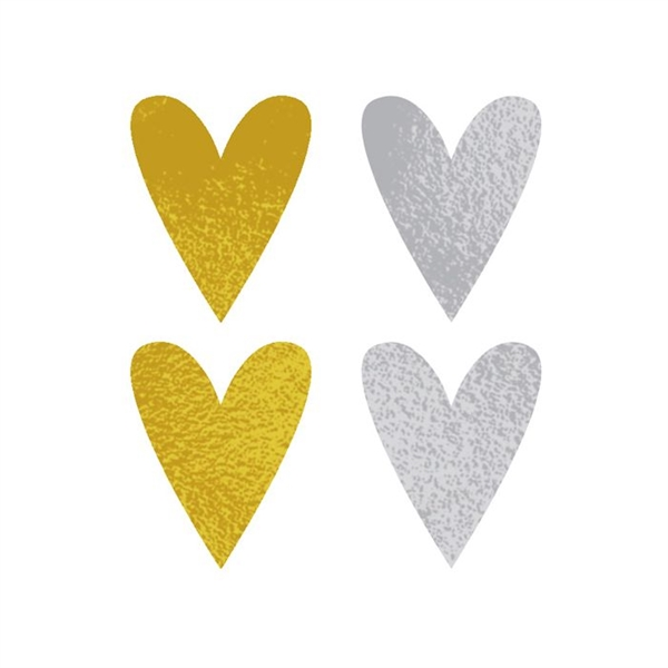 Gold and Silver Hearts Temporary Tattoo